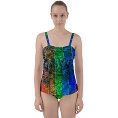 Rainbow Of Water Twist Front Tankini Set by FunnyCow