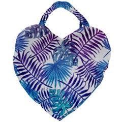 Blue Tropical Leaves Pattern Giant Heart Shaped Tote
