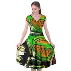 Lillies In The Terracota Vase 5 Cap Sleeve Wrap Front Dress by bestdesignintheworld