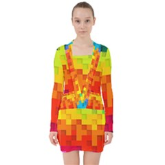 Abstract Background Square Colorful V Neck Bodycon Long Sleeve Dress by Nexatart