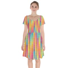 Background Colorful Abstract Short Sleeve Bardot Dress by Nexatart