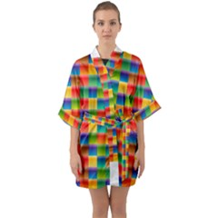 Background Colorful Abstract Quarter Sleeve Kimono Robe by Nexatart