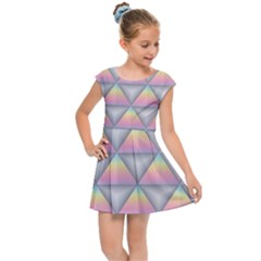 Background Colorful Triangle Kids Cap Sleeve Dress by Nexatart
