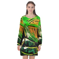 Lillies In The Terracota Vase 5 Long Sleeve Chiffon Shift Dress