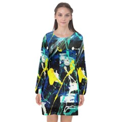 Brain Reflections 2 Long Sleeve Chiffon Shift Dress  by bestdesignintheworld