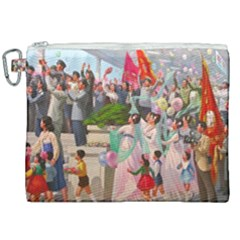 North  Korea   Propaganda Canvas Cosmetic Bag (xxl) by Valentinaart