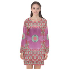 Fantasy Flowers In Everything That Is Around Us In A Free Environment Long Sleeve Chiffon Shift Dress  by pepitasart