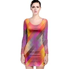 Abstract Background Colorful Pattern Long Sleeve Bodycon Dress