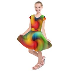 Abstract Spiral Art Creativity Kids  Short Sleeve Dress by Nexatart