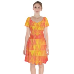 Background Colorful Abstract Short Sleeve Bardot Dress