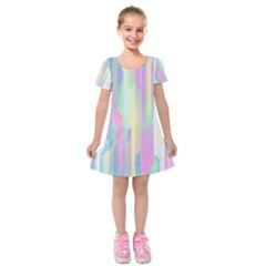 Background Abstract Pastels Kids  Short Sleeve Velvet Dress