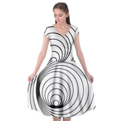 Spiral Eddy Route Symbol Bent Cap Sleeve Wrap Front Dress