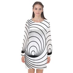 Spiral Eddy Route Symbol Bent Long Sleeve Chiffon Shift Dress  by Nexatart