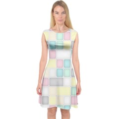 Background Abstract Pastels Square Capsleeve Midi Dress