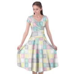 Background Abstract Pastels Square Cap Sleeve Wrap Front Dress by Nexatart