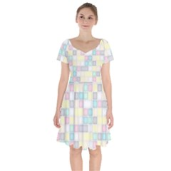 Background Abstract Pastels Square Short Sleeve Bardot Dress