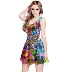 Abstract Squares Arrangement Reversible Sleeveless Dress