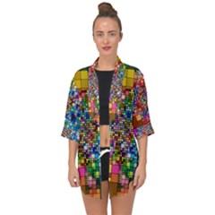 Abstract Squares Arrangement Open Front Chiffon Kimono by Nexatart