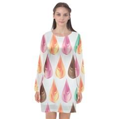 Background Colorful Abstract Long Sleeve Chiffon Shift Dress