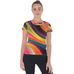 Abstract Colorful Background Wavy Short Sleeve Sports Top  by Nexatart