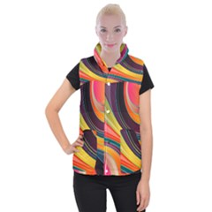 Abstract Colorful Background Wavy Women s Button Up Vest