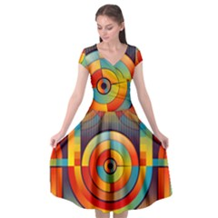 Background Colorful Abstract Cap Sleeve Wrap Front Dress