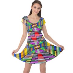 Art Vanishing Point Vortex 3d Cap Sleeve Dress