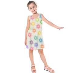 Polygon Geometric Background Star Kids  Sleeveless Dress by Nexatart