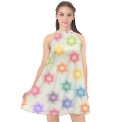 Polygon Geometric Background Star Halter Neckline Chiffon Dress  by Nexatart