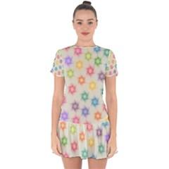 Polygon Geometric Background Star Drop Hem Mini Chiffon Dress