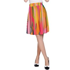 Background Abstract Colorful A Line Skirt