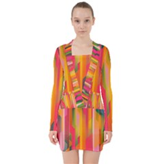Background Abstract Colorful V Neck Bodycon Long Sleeve Dress by Nexatart