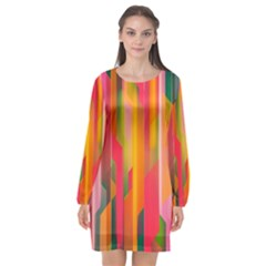 Background Abstract Colorful Long Sleeve Chiffon Shift Dress