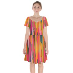 Background Abstract Colorful Short Sleeve Bardot Dress by Nexatart