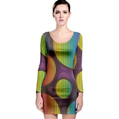 Background Colorful Abstract Circle Long Sleeve Bodycon Dress