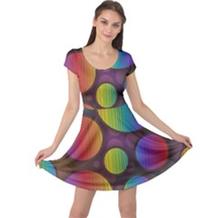 Background Colorful Abstract Circle Cap Sleeve Dress