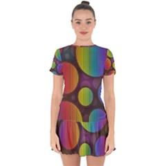 Background Colorful Abstract Circle Drop Hem Mini Chiffon Dress