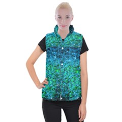 Water Color Green Women s Button Up Vest by FunnyCow