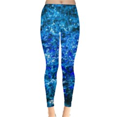 Water Color Navy Blue Leggings  by FunnyCow