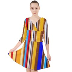 Colorful Stripes Quarter Sleeve Front Wrap Dress by FunnyCow