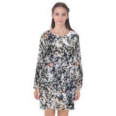 Granite Hard Rock Texture Long Sleeve Chiffon Shift Dress  by FunnyCow