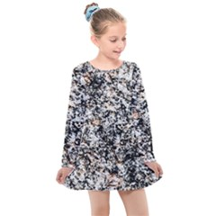 Granite Hard Rock Texture Kids  Long Sleeve Dress by FunnyCow
