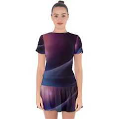 Abstract Form Color Background Drop Hem Mini Chiffon Dress by Nexatart