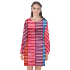 Background Colorful Abstract Long Sleeve Chiffon Shift Dress