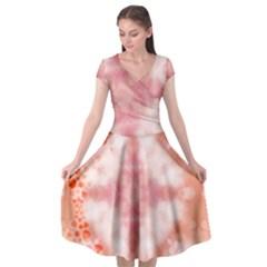 Heart Background Wallpaper Love Cap Sleeve Wrap Front Dress