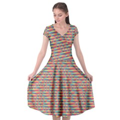 Background Abstract Colorful Cap Sleeve Wrap Front Dress by Nexatart