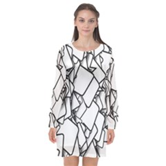 Balloons Feedback Confirming Clouds Long Sleeve Chiffon Shift Dress  by Nexatart