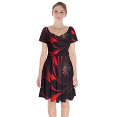 Abstract Curve Dark Flame Pattern Short Sleeve Bardot Dress