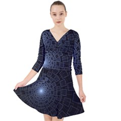 Pattern Abstract Fractal Art Quarter Sleeve Front Wrap Dress