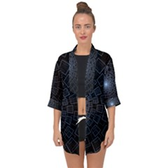 Pattern Abstract Fractal Art Open Front Chiffon Kimono